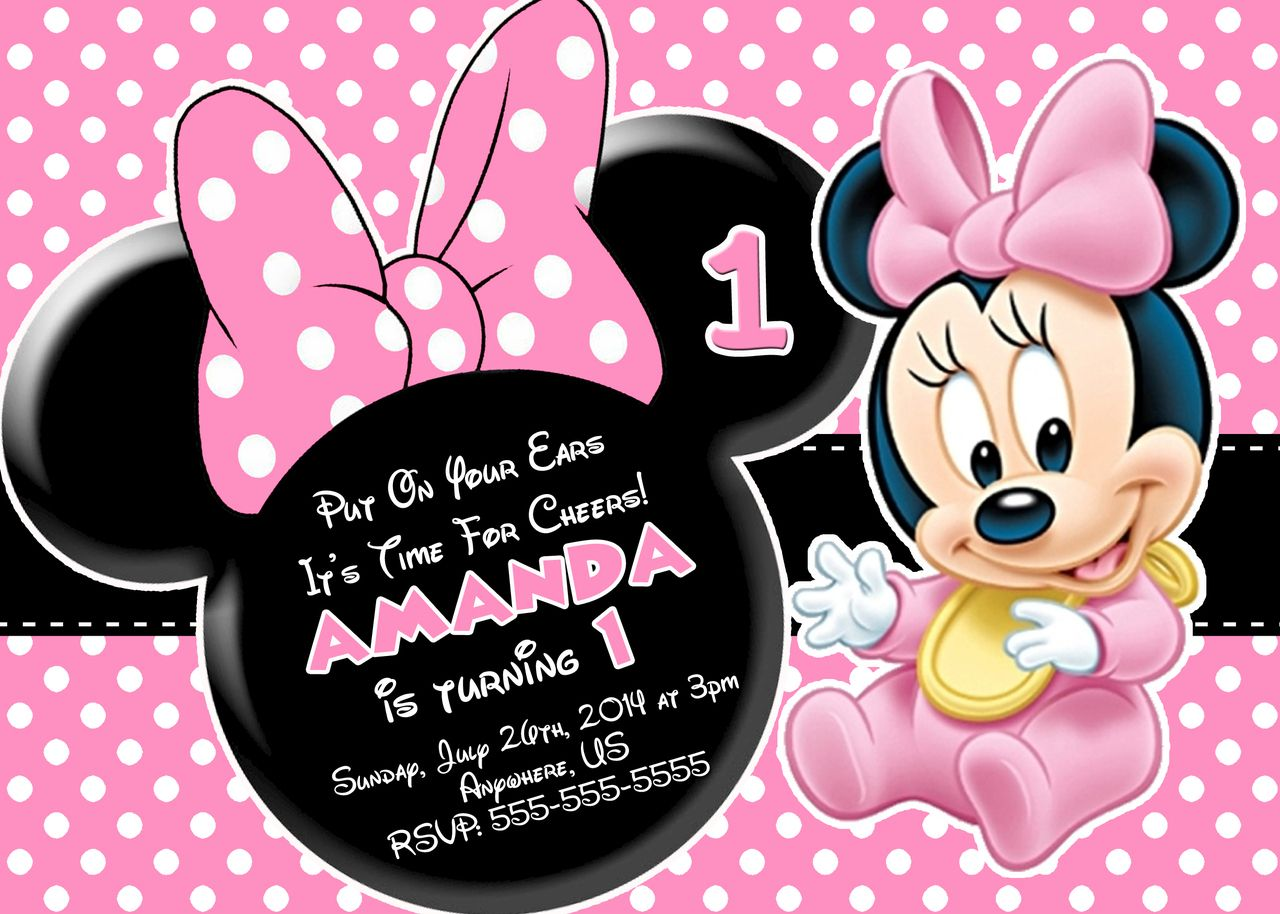 Minnie Mouse First Birthday Invitations Minnie Mouse Mice And - Minnie mouse 1st birthday invitations templates