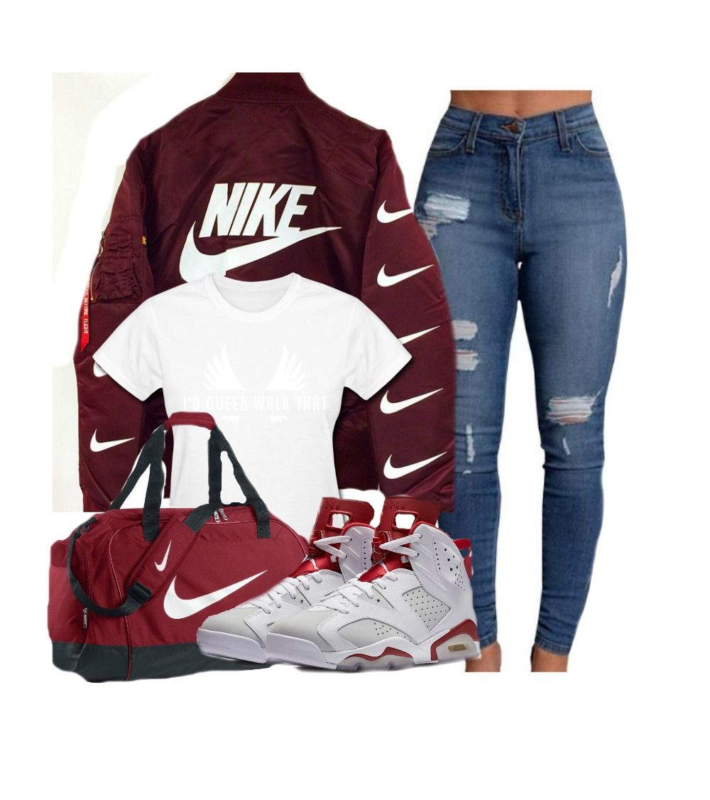 I love the color red/maroon and I like how this outfit goes great together  it shows that I like ripped jeans shoes and I'm a sports person