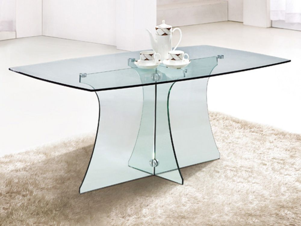 Outstanding Serene Rectangular Clear Glass Dining Table Design White Rugs And Wall Amazing Modern Style