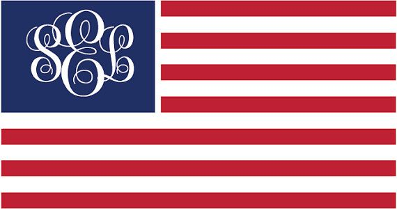 Personalized Preppy American Flag Monogram  by PersonallyPreppy, $3.50