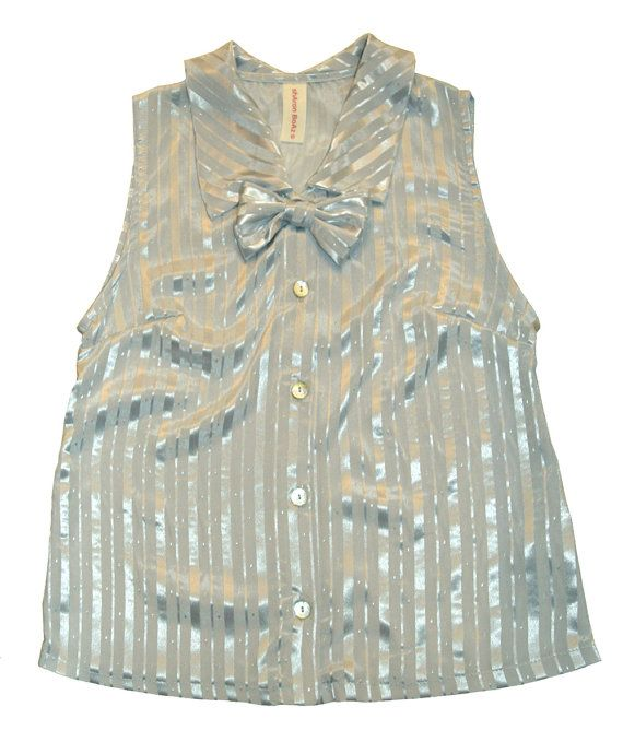 Silver blouse Buttoned down sleevles blouse by SharonBoazFashion, $89.00
