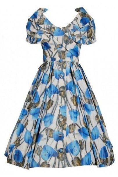 94c46c51d69212 1956 Christian Dior Demi-Couture Blue Floral Silk Portrait-Collar New Look  Dress, Los Angeles Vintage, Beverly Hills Vintage, Vintage Dior