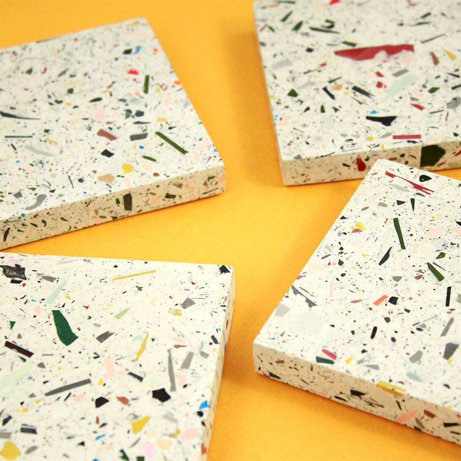 Taille Sous Verre Set De 2 Sous Verre En Terrazzo Multicolore For The Home
