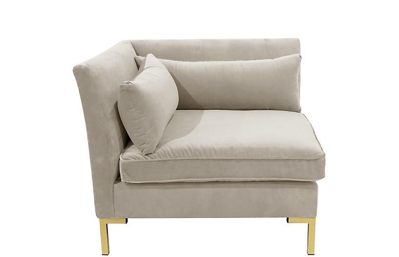 Marceau corner chair light gray velvet corner chair