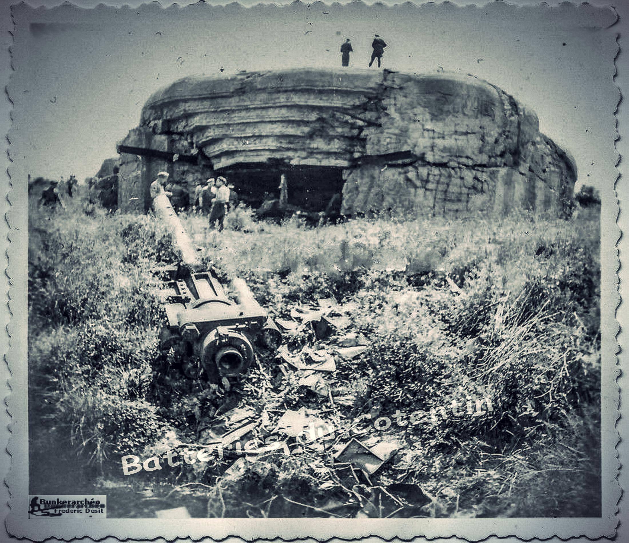 la batterie de crisbecq photo d 39 apr s guerre le canon de 210 mm skoda et encore sur le terrain. Black Bedroom Furniture Sets. Home Design Ideas