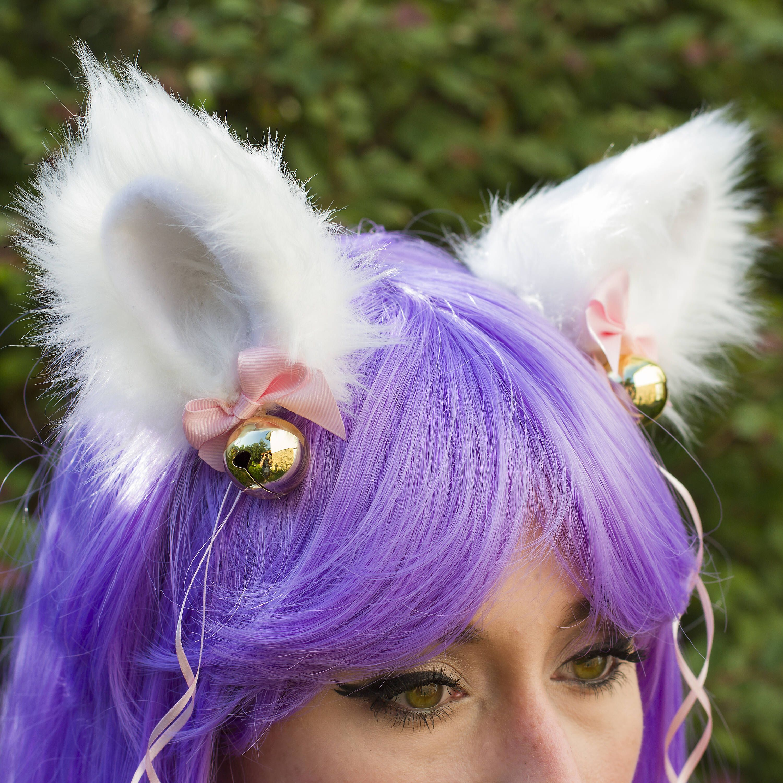 Cosplay neko ears, white cat ears, kitten play, pink
