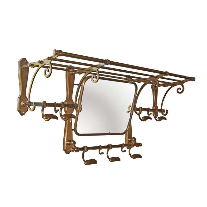 This Vintage Train Luggage Rack In Antique Br Finish Features A Central Mirror Below Four