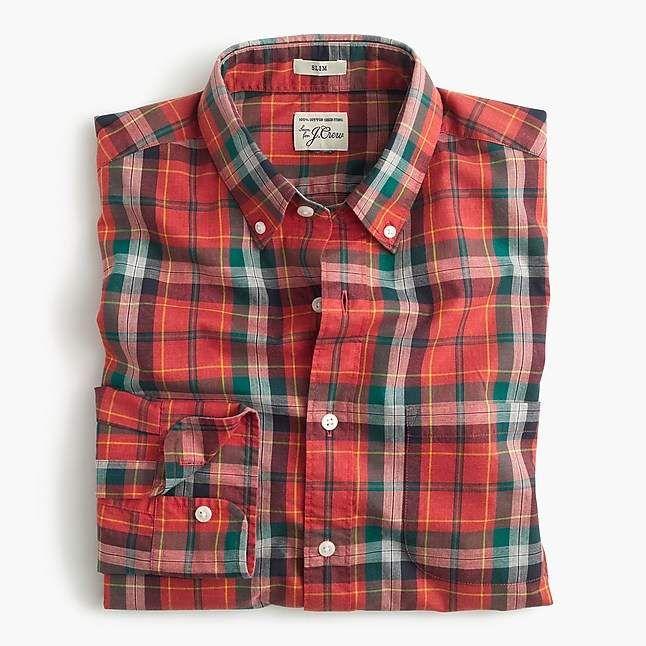 fa0833d63b4 J.Crew Slim Secret Wash shirt in heather poplin red plaid