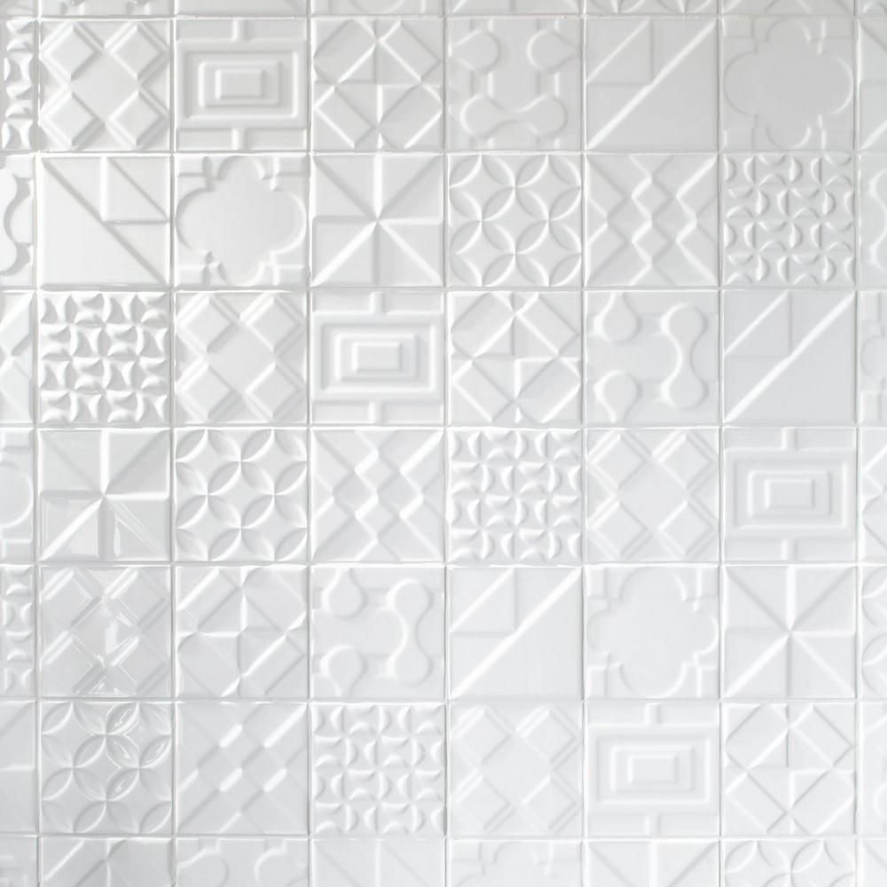 Heritage Meringue Deco Ceramic Tile Floor Decor In 2020 Decorative Ceramic Tile Ceramic Tiles White Ceramic Tiles