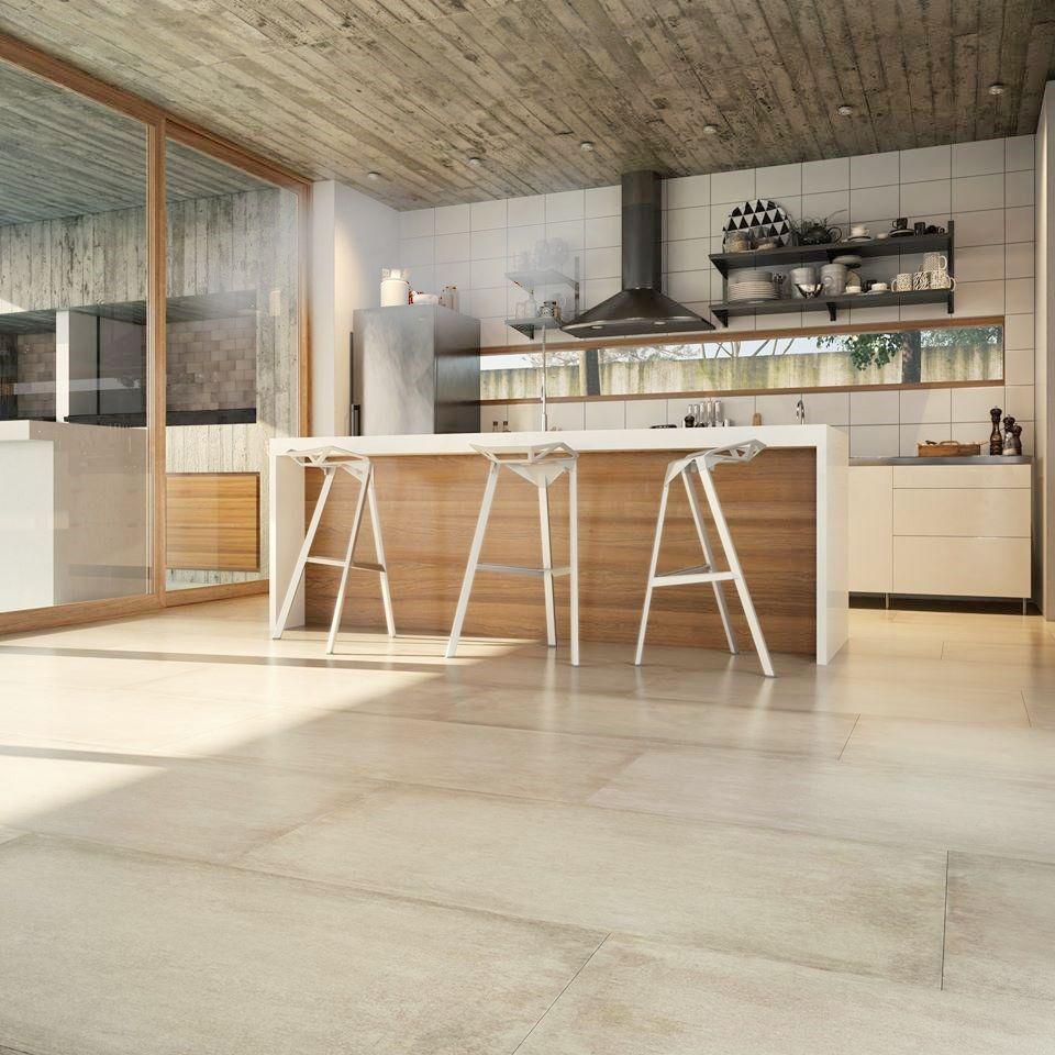 Porcelanato san pietro simil cemento beige 105 x 53 for Pisos para cocina moderna
