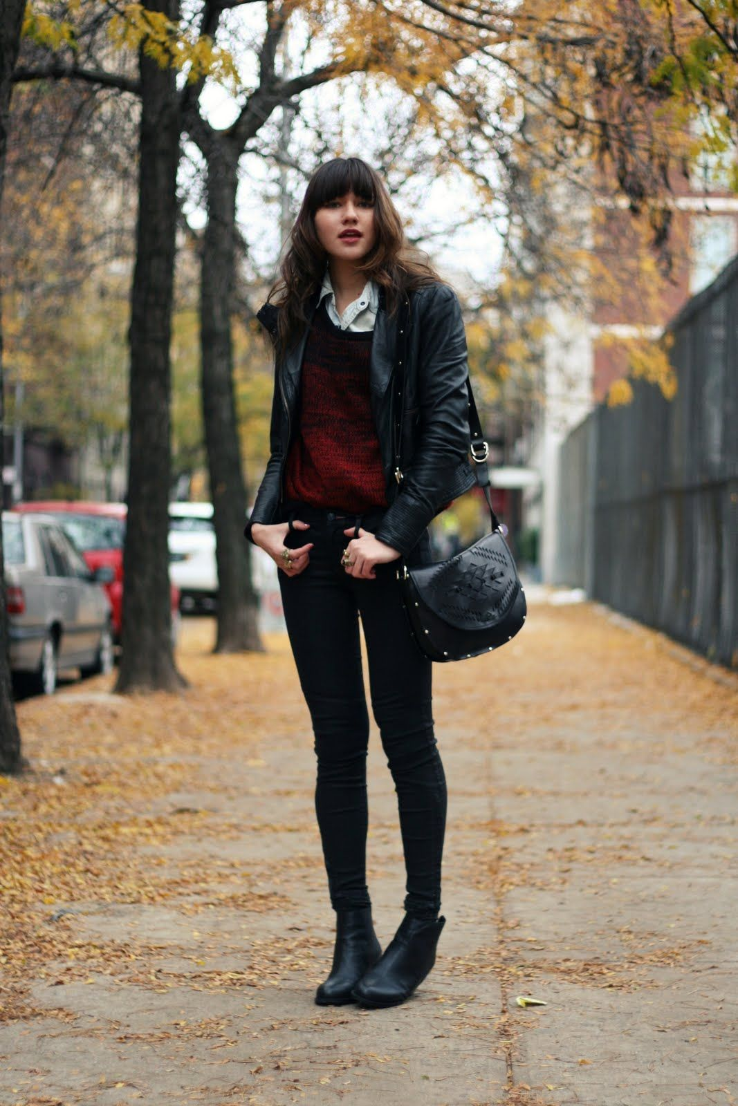 Black ankle boots + black skinny jeans + chambray shirt + red sweater + black leather jacket ...