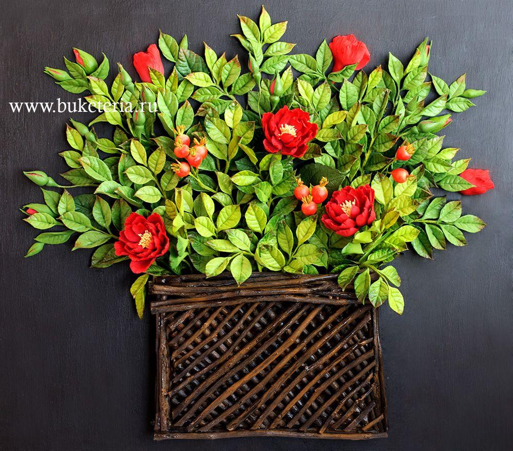 polymer clay flowers, deco clay,www.buketeria.ru,цветы из полимерной глины, интерьерные композиции, цветы из глины, шиповник