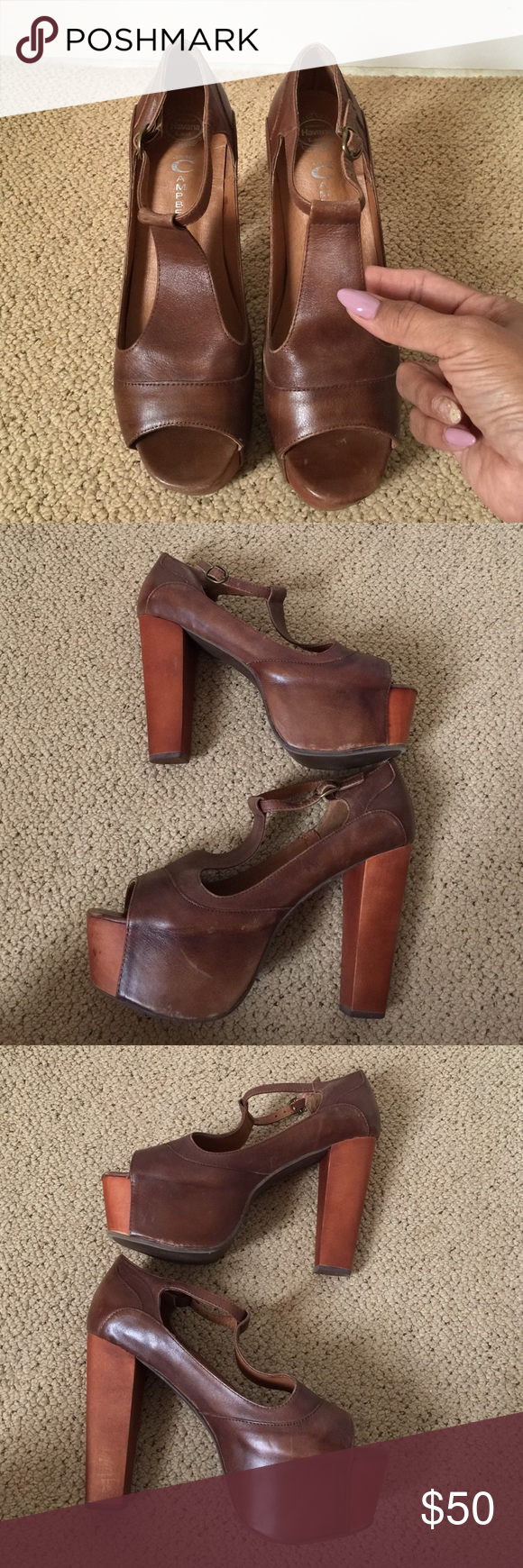 Jeffrey Campbell Foxy Platform Sandal Excellent used condition! Used once. Please keep in mind that this brown leather has a slightly distressed look. No box. Jeffrey Campbell Shoes Platforms