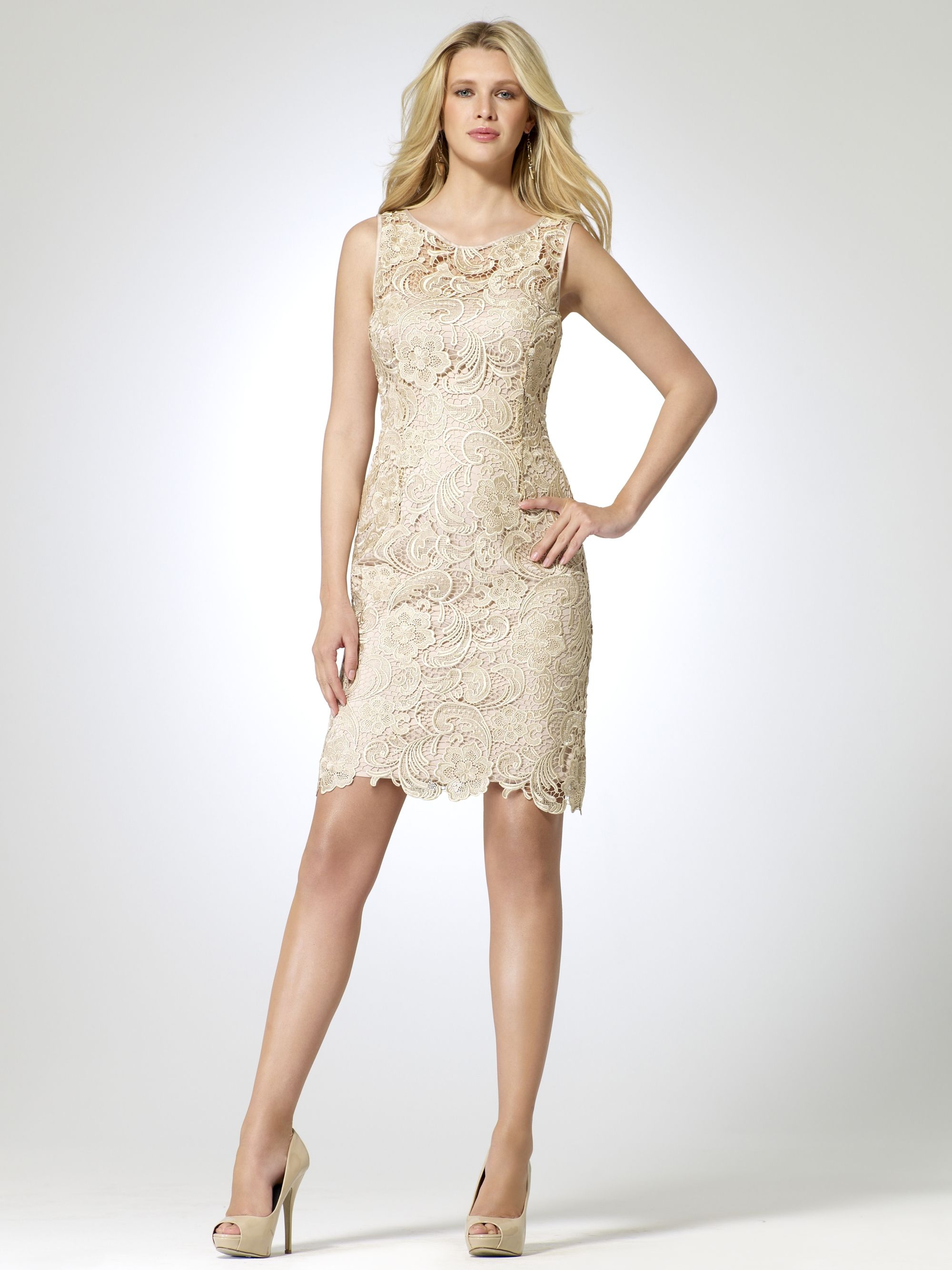 Summer dresses to wear to a wedding  Neutral Lace Sheath Dress  Wedding  Pinterest  Lace sheath dress