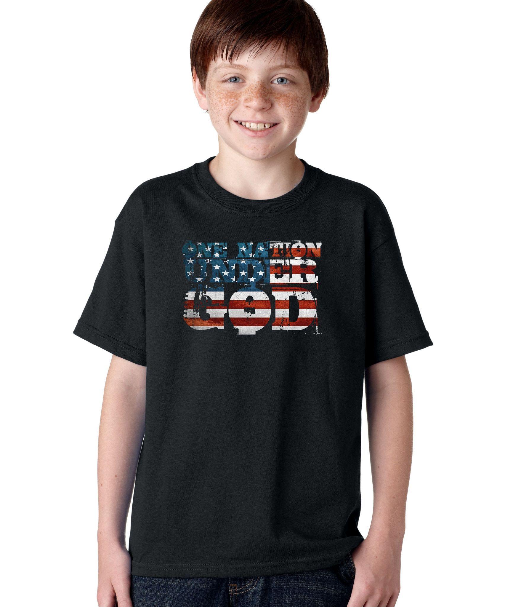 445c0b232 One Nation Under God America Patriot Pledge Of Allegiance USA Flag T-shirt  for Kids