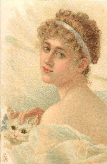 brown haired woman faces left,cuddles cat, bare shoulders and short hair in white band
