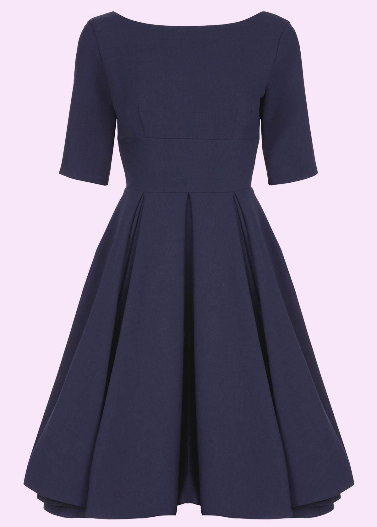 14b1cd7d Smuk 50er swing kjole med lange ærmer i navy blå fra Pretty Dress Company