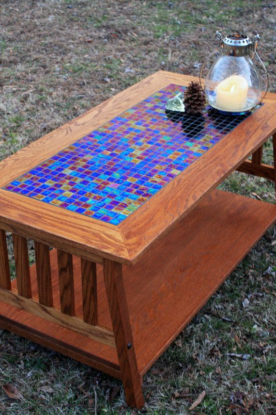 mission style coffee table. arts and crafts coffee table. mosaic