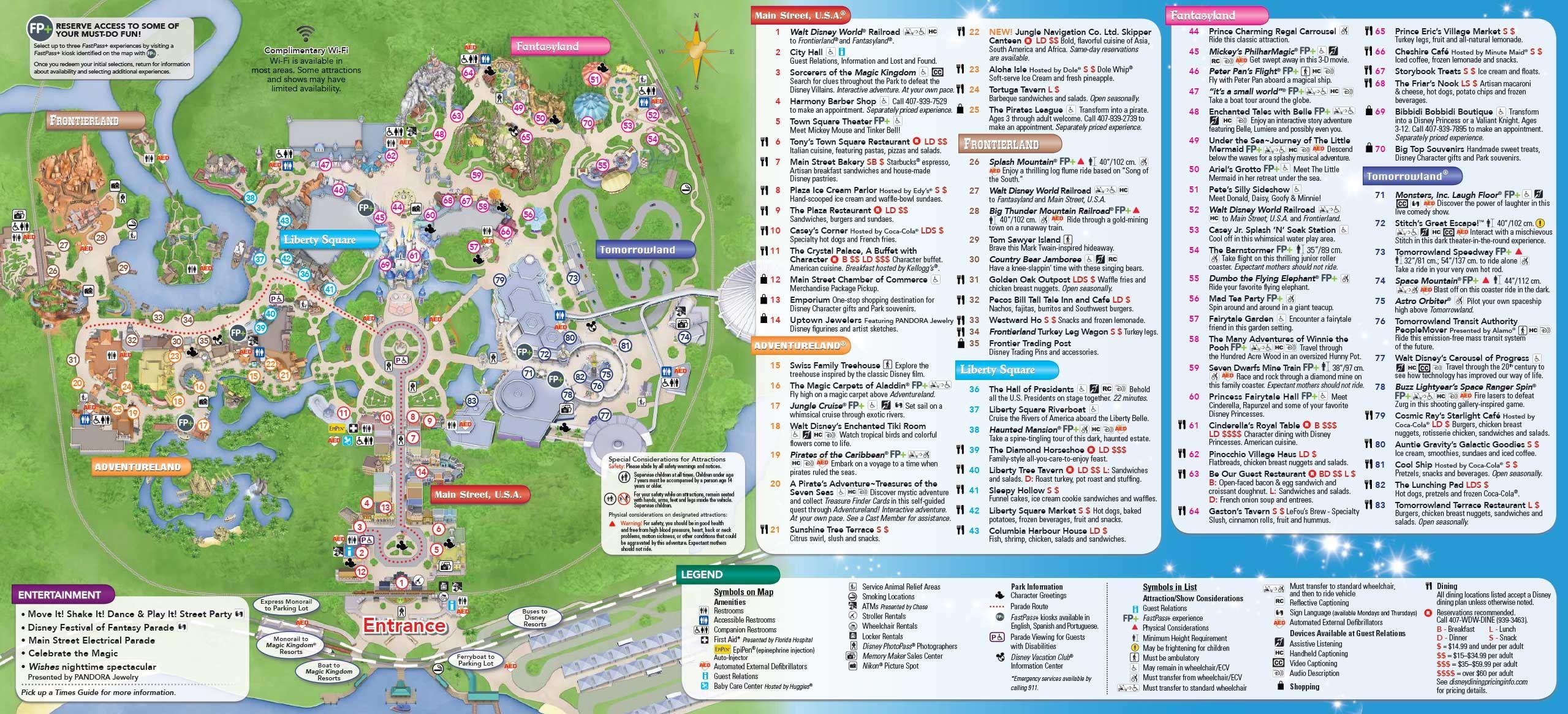 Superior June 2016 Walt Disney World Park Maps Inside Map Magic Kingdom  2,559×1,165 Pixels
