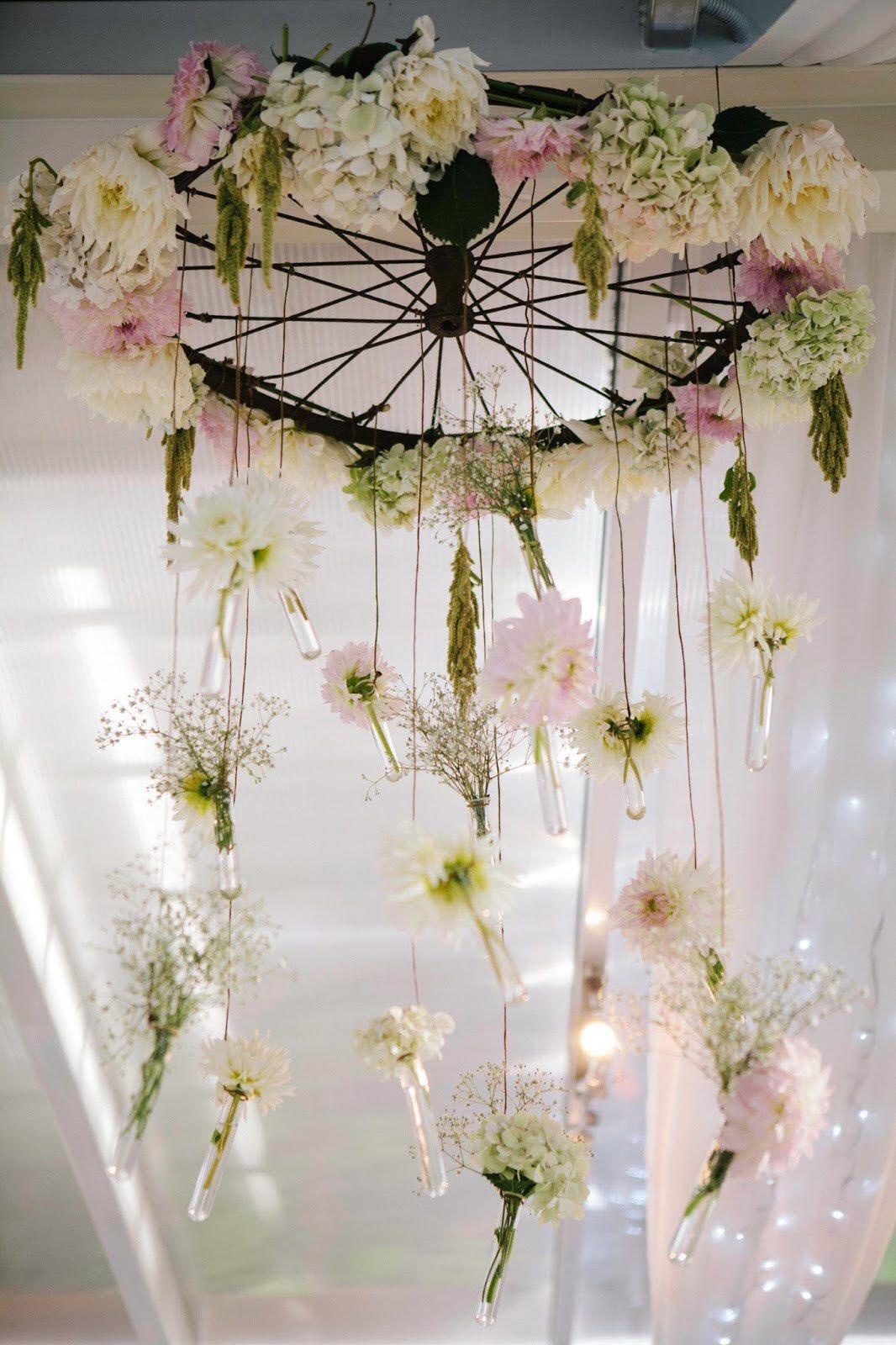 Bicycle Wheel Flower Chandelier Decoration Ideas Pinterest