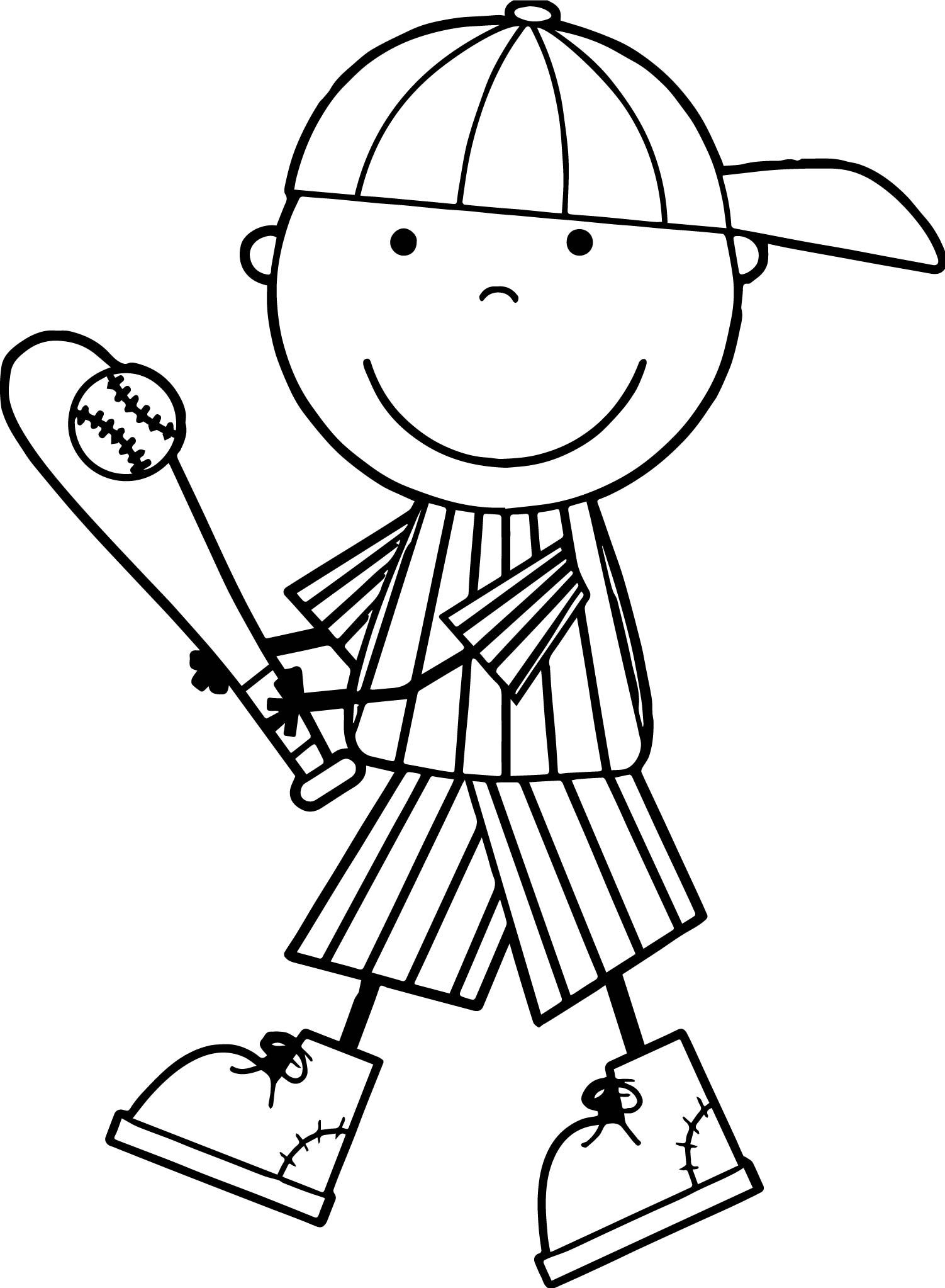 Awesome Cute Kids Playing Baseball Coloring Page