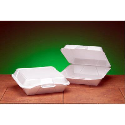 Genpak Foam Hinged Jumbo Container With 1 Compartment In White