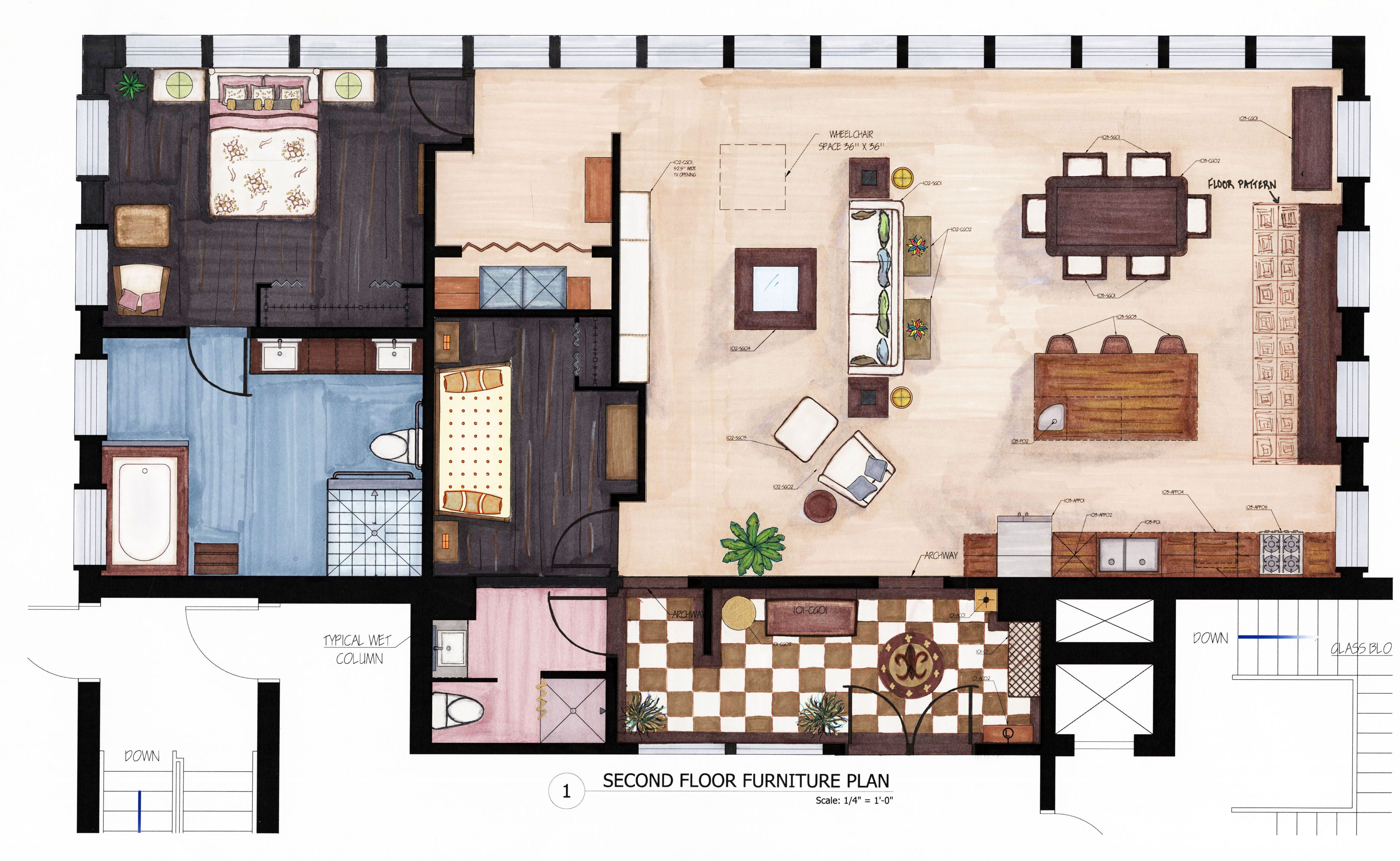 Rendered Floor Plan AutoCad This is a furniture plan I created