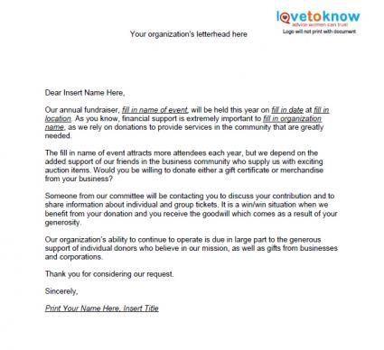 Auction Item Request Letter personal Pinterest Fundraising - donation request letter