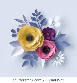 Imágenes similares, fotos y vectores de stock sobre Representación 3d, ramo de flores de papel, paleta de colores vivos, fondo botánico, arte clip aislado, ramo redondo, disposición floral; 1039287142