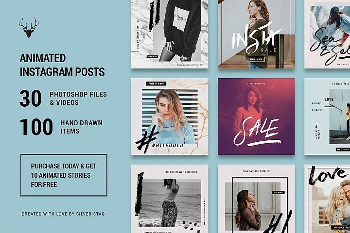 ANIMATED Hand-Drawn Instagram Posts - ANIMATED Creative Hand Drawn Instagram Post Templates