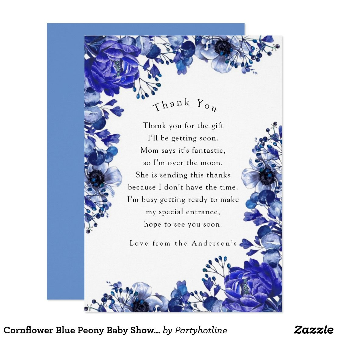 Cornflower Blue Peony Baby Shower Thank You Invitation | Zazzle.com #bluepeonies