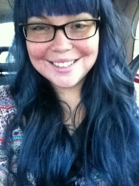 Blue Hair from Aveda hair. Lasts a long time and if very vibrant. Does not ruin your hair or pocket book!