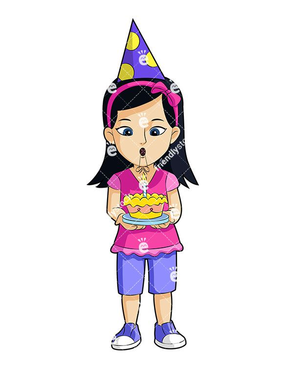 A Little Girl Holding A Birthday Cake And Wearing A Party Hat