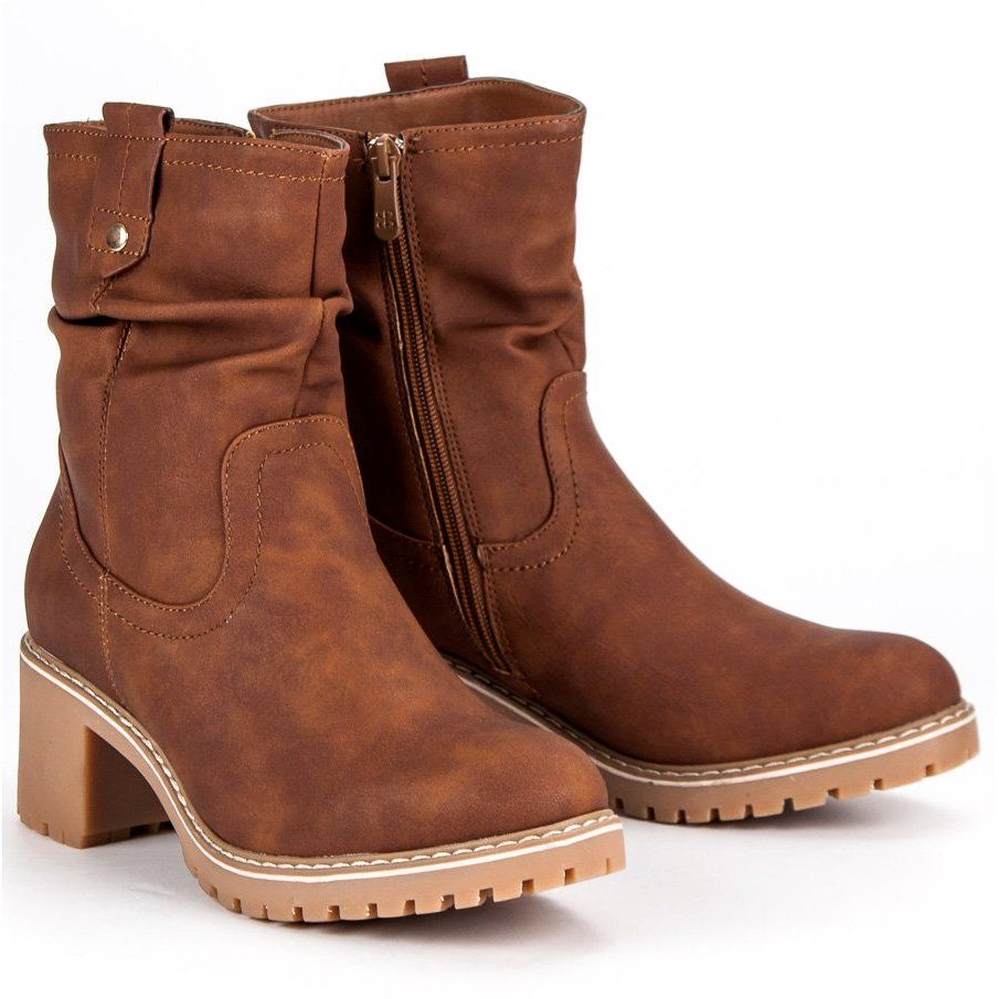 Jesienne Botki Damskie Brazowe Shoes Boots Cowboy Boots