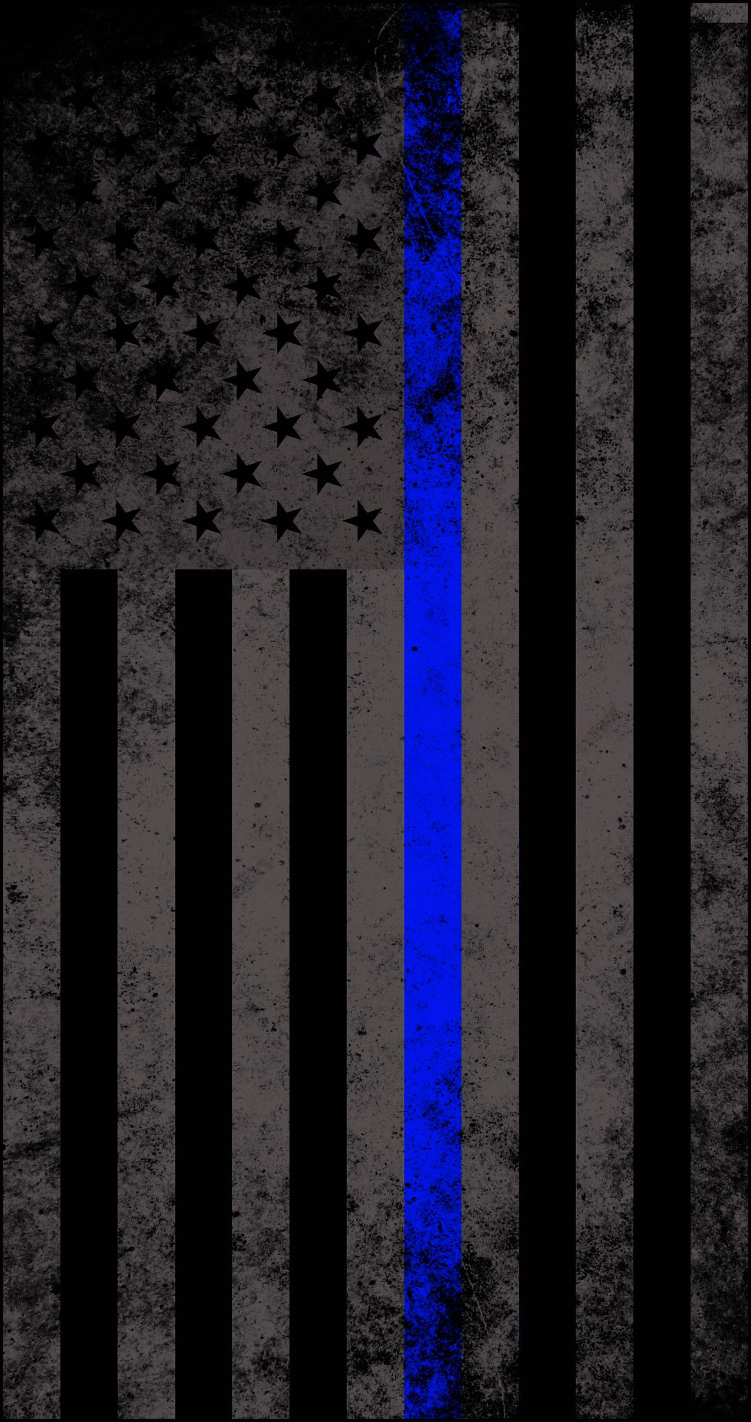 Res 1082x2048, American Subdued Thin Blue Line Flag Decal