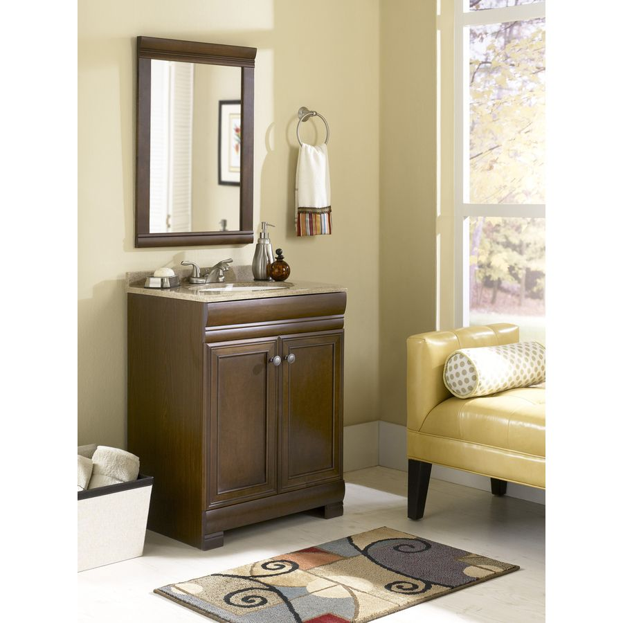 Images Of Shop Style Selections Windell Auburn Integrated Single Sink Bathroom Vanity with Solid Surface Top Common x Actual