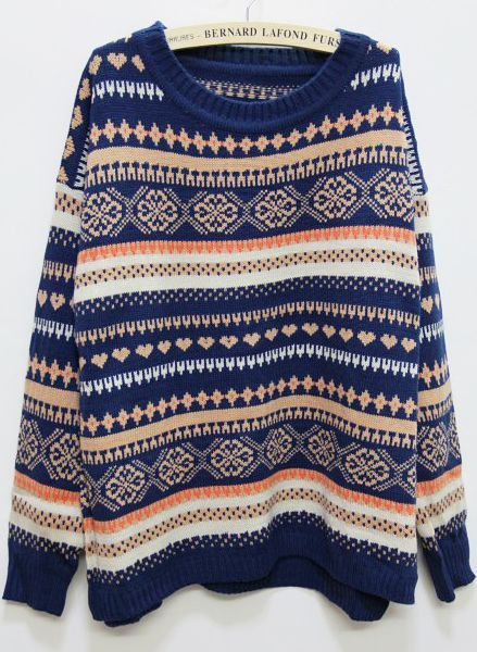 Blue Long Sleeve Snowflake Chrismas Pattern Sweater EUR€31.79