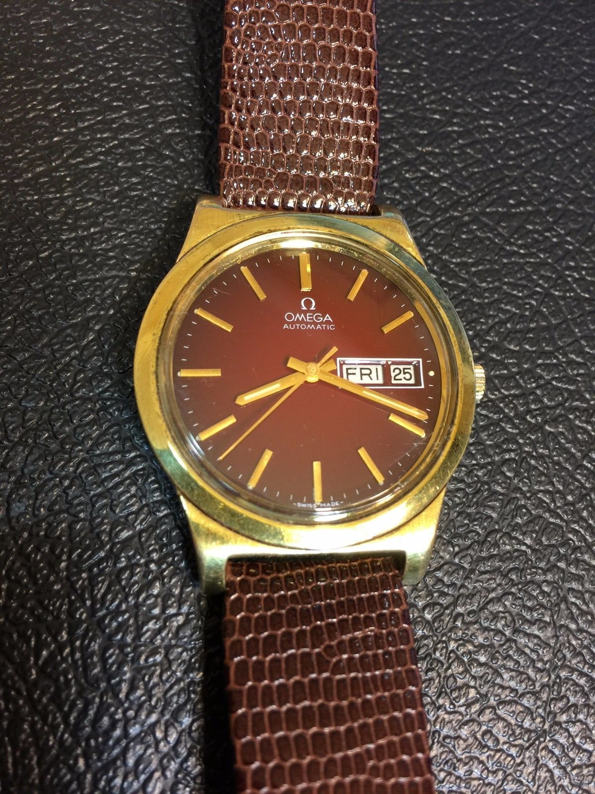 05fbdaa4c6dd Omega Automatic Lunette Plaque OR G20 Microns Gold Plated Men Watch ...