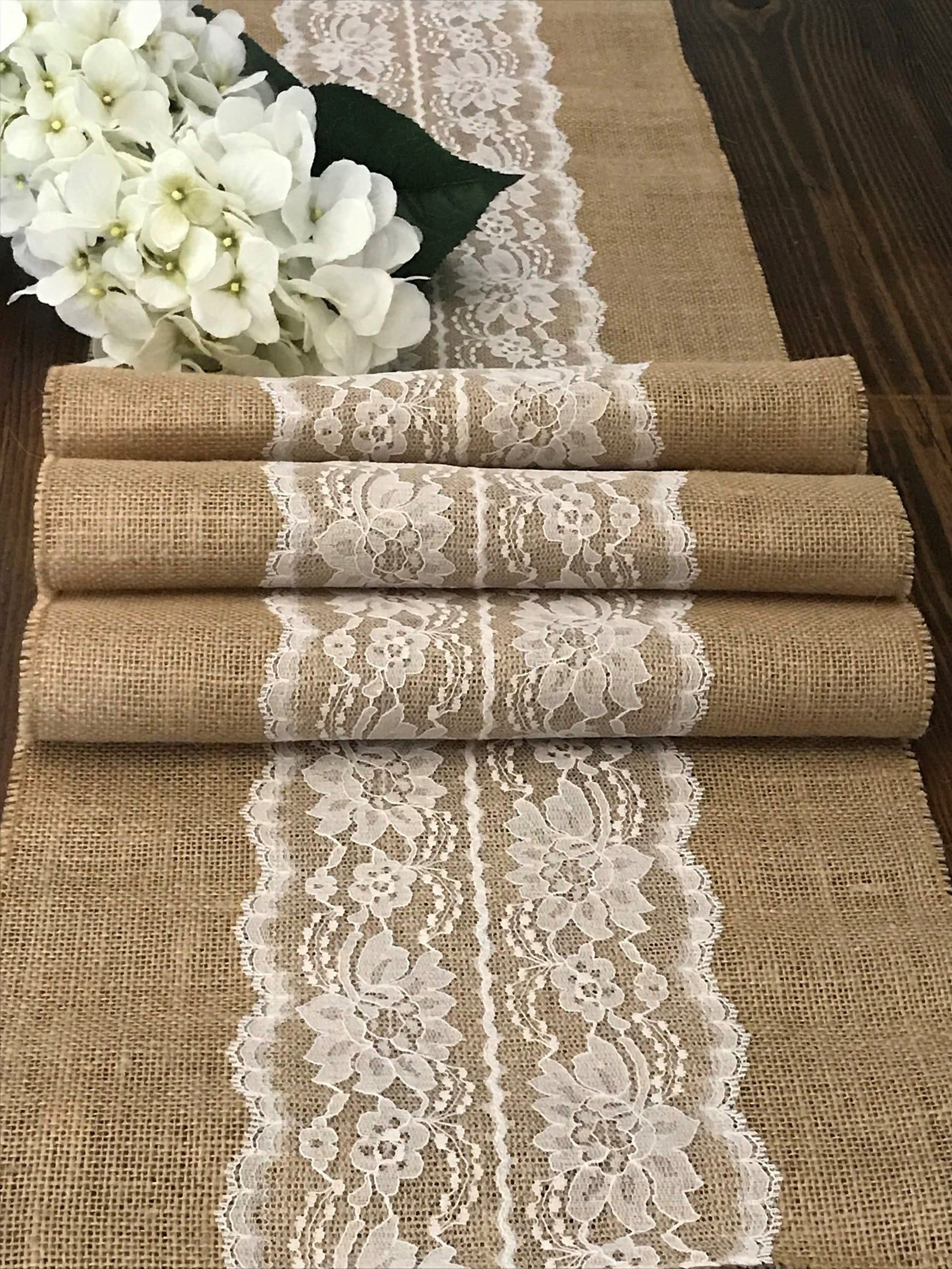 Burlap Table Runner with Ivory or White Lace Center