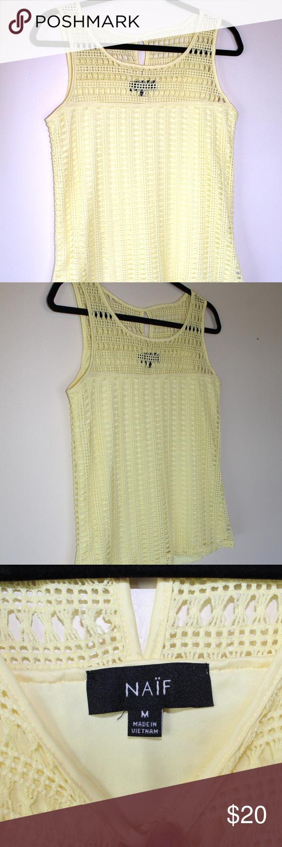 naif Montreal Medium Open Knit Sleeveless Top Yell naif Montreal Medium Open Knit Sleeveless Top Yellow naif Tops Blouses