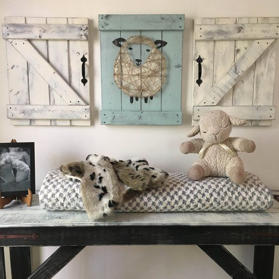 Sheep Nursery Decor 3 Pc Set Lamb Art Rustic Above The Crib Boy