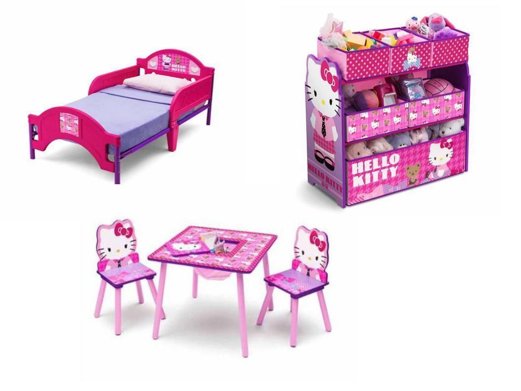 Hello kitty chair - Hello Kitty Toddler Bed Toy Storage Bin Organizer Toddler Table And Chair Set Ebay