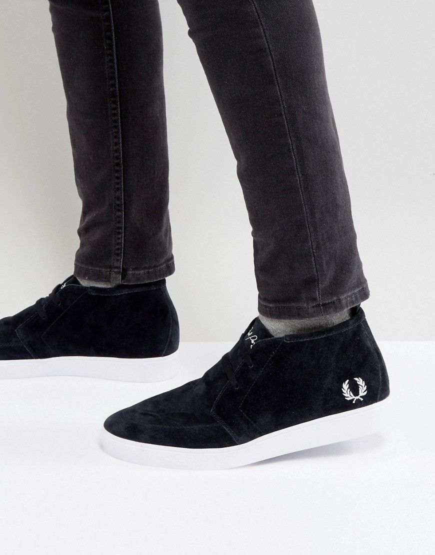 Mens Navy Fred Perry Shields Mid Trainers