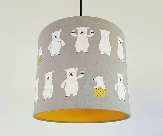 Polar Bears Fabric In Grey Amp Yellow Vinyl Lampshade Cloud Lights Lamp Shades Grey Yellow
