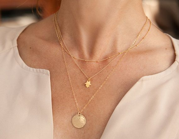 Layered Necklace Set with Gold Satellite Chain, Tiny Hamsa Pendant Necklace and Hammered Gold Disc