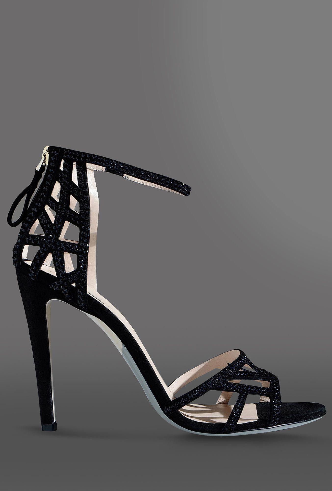 Giorgio armani suede sandal embellished with rhinestones for Schuhschrank jimmy