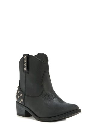Lark ~ The punk-meets-western bootie you were waiting for. Stud details, chunky, stacked heel.