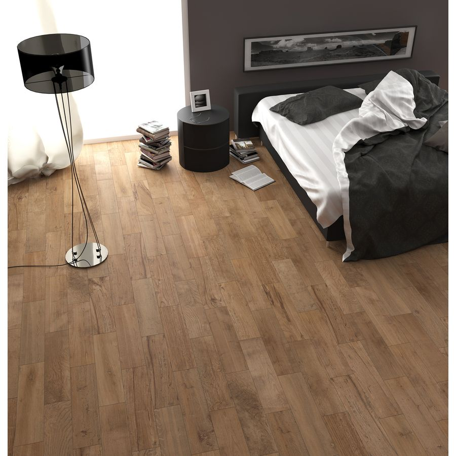 Shop style selections woods natural glazed porcelain for Indoor outdoor wood flooring