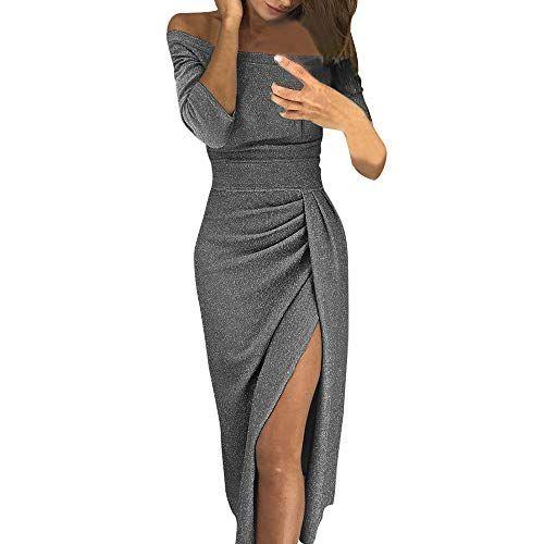 bf45ba6bad Vestidos Mujer Casual Vestido Ajustado con Abertura en el Hombro y Hombros  Descubiertos Vestir Elegantes Rockabilly Dress de Fiesta  vestido  mujer ...