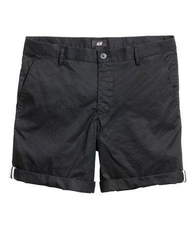 5be38c9d850 Cotton Shorts Slim fit | Black | Men | H&M US | Work | Cotton shorts ...